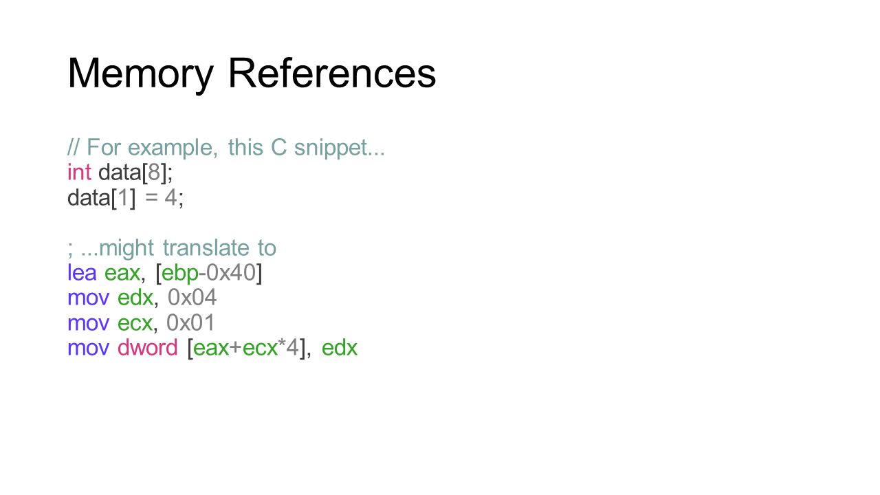 Memory References // For example, this C snippet... int data[8];